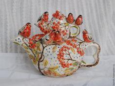 """Купить Чайник заварочный """"Снегири"""" - чайник ручной работы, фарфоровый чайник, необычный чайник, красный"""