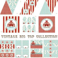 Vintage Circus Decorations for Birthday Party or Baby Shower - Big Top DIY Printable Decor by BeeAndDaisy. $12.00, via Etsy.