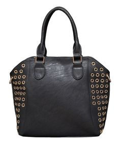 Another great find on #zulily! Black & Gold Eyelet Lizzy Shoulder Bag by Elise Hope #zulilyfinds