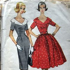 1950s Misses Dress Pattern With Double Breasted by kalliedesigns