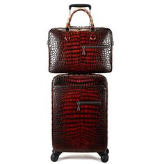 If you are looking for a perfect luggage set then putting your hands on this alligator spinner luggage set is going to be the best choice for you to have Lv Luggage, Pink Luggage, Luggage Sets, Leather Briefcase, Crocodile, Burgundy, Mens Fashion, Handbags, Briefcases