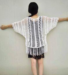 Boho Fringe Crochet Cardigan by on Etsy Boho Crochet, Hairpin Lace Crochet, Crochet Fringe, Crochet Lace Dress, Crochet Gloves, Unique Crochet, Crochet Fashion, Irish Crochet, Knit Crochet