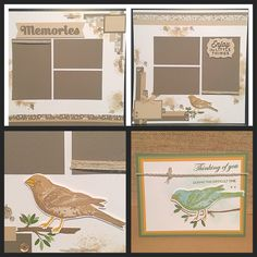 CTMH thoughtful bird and basic fundamentals double scrapbook layout and card