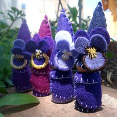 Pansy Flower Gnome Waldorf Inspired Storytelling by paintingpixie