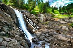 Waterfall at BlaafargeverketModum, Norway