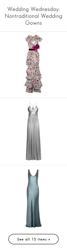"""Wedding Wednesday: Nontraditional Wedding Gowns"" by polyvore-editorial ❤ liked on Polyvore featuring weddingwednesday, dresses, gowns, mint, green dress, silk dress, collar dress, green evening dresses, mint dress and robes"