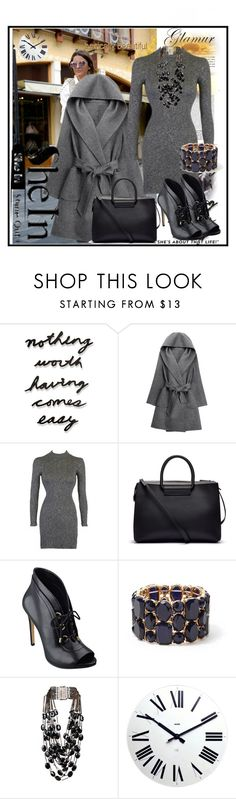 """""""Grey Coat"""" by suadapolyvore ❤ liked on Polyvore featuring Umbra, WithChic, The Row, GUESS, Forever 21, Rosantica and Alessi"""