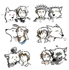 dire wolves of each Stark child. From top left to right row by row. Jon and Ghost; King Rob and Grey Wind; Prim and proper Sansa and Lady; Impudent and independent Arya and Nymeria; Sweet Bran and Summer with the 3-eyed crow on his head; and grumpy and undisciplined Rickon and Shaggy Dog.