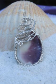 Wampum Jewelry, Native American Inspired Jewelry, Wire Wrapped Wampum Pendant by NatureSpeaks2you on Etsy