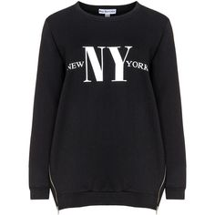 Miss Y by Yoek Black / White Plus Size Printed cotton sweatshirt (£80) ❤ liked on Polyvore featuring tops, hoodies, sweatshirts, black, plus size, plus size tops, long sleeve sweatshirt, plus size white tops, white cotton sweatshirt and plus size sweatshirts
