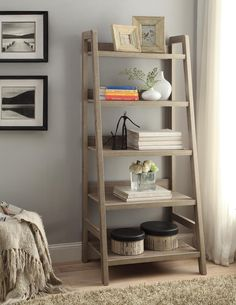 Linon Tracey Ladder Bookcase, Grey, 5 Shelves Image 2 of 3 Leaning Bookshelf, Ladder Bookshelf, 5 Shelf Bookcase, Bookshelf Design, Bookshelves, Rustic Bookshelf, Rustic Ladder, Wood Ladder, Bookshelf Ideas