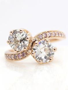 old european cut moi et toi style engagement ring with pink diamond bead set band set in rose gold #oldeuropean #pinkdiamonds #rosegold