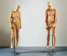 Kiki Smith- Untitled- varies heights- 1990- Beeswax and microcrystalline wax. Even though these sculptures are a little more graphic that I would normally like I was interested in them because of the realistic feel. They look so real but hang and droop lifelessly. You can sense the implied weight of the forms by the drooping of the shoulders and head.