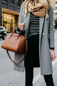 //Repin - woman wearing zara grey wool coat tan scarf black white striped sweater black skinny jeans givenchy cognac antigona satchel fashion jackson dallas blogger fashion blogger street style