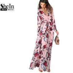 SheIn Women Long Dresses Deep V Neck A Line Maxi Dress Summer Flower Print Long Cuff Sleeve Surplice Wrap Dress