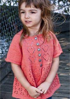 Free heart themed children's summer top knitting pattern download