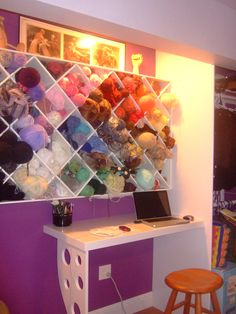 yarn shelves and desk - my space :D