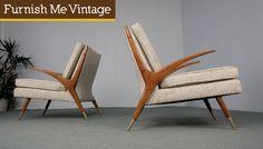 Pair of Mid Century Modern Elegant Lounge Chairs