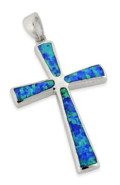 Cute Blue Opal Cross Pendant <3