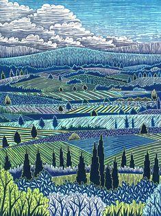 Italian Landscape I woodcut print by Daryl Storrs