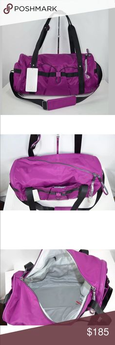 New Lululemon Run Ways Duffel Gym Bag This grab-and-go bag was designed to get you and your gear to your workout hassle-free. fabric is water-repellent, durable, and easy to wipe clean extra-long diagonal zipper opens wide for easy packing quick-access pockets hold your phone and sunglasses yoga mat straps stow away when not in use zippered exterior shoe pocket interior pockets keep you organized and your sweaty gear separate tested to hold 22kg (50lb) designed for: to-and-from dimensions…