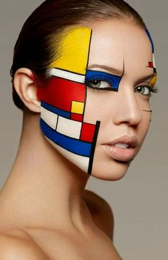 "Face Art, by Yoan Perez, ""Mondrian"" inspiration, Photo by Damien Mohn. Face Art, by Yoan Per Make Up Looks, Body Makeup, Eye Makeup, Hair Makeup, Fashion Bubbles, Art Visage, Extreme Makeup, Fantasy Makeup, Costume Makeup"