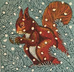 Vanessa Lubach's linocuts featured on My Paisley World. #linocut #squirrel