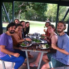 Lunch with the volunteer crew at the park in Noosa Heads, rissoles, chops and vegie patties with potato salad and green salad.