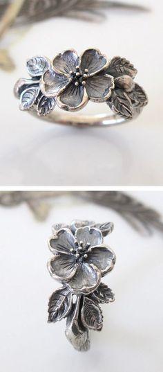 Heirloom Rose Flower Ring Handmade Sterling Silver