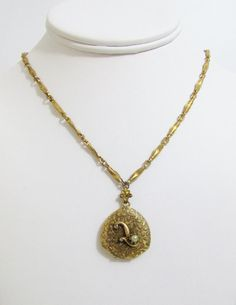 Vintage Necklace Gold tone Locket with Pearl and by FairSails, $56.00