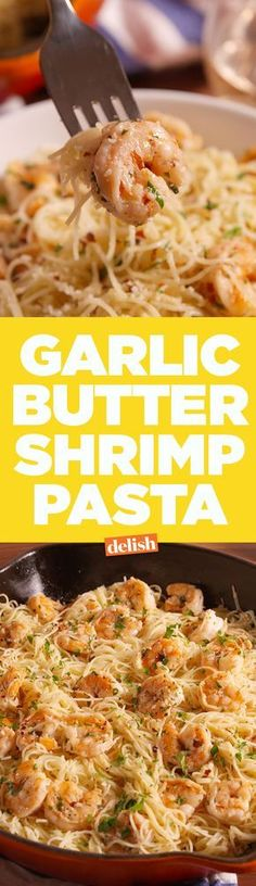 No one can resist this Garlic Butter Shrimp Pasta. Get the recipe on Delish.com. (scallop recipe pasta)