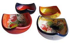 Decorative Bowls - 3 Corner Tapa Bowls - Set of 4 Designs - Hand Painted in Spain