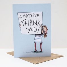 A massive thankyou! Thank you card: Watercolour illustration;