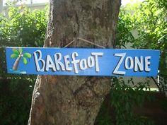 BAREFOOT ZONE - TROPICAL TIKI BAR HUT PARROTHEAD BEACH POOL PATIO SIGN ...