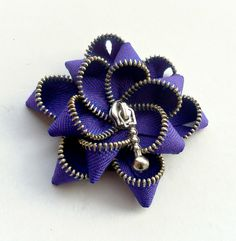 Indigo Blue Floral Zipper Brooch