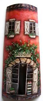 casas pintadas en tejas - Buscar con Google Fairy Garden Doors, Fairy Doors, Clay Houses, Ceramic Houses, Clay Pot Crafts, Diy Crafts, Decoupage, Gourds Birdhouse, Clay Fairies