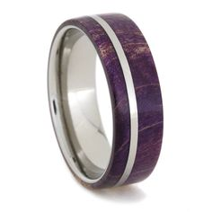 For him: Amazing Purple Box Elder Burl Wood Ring with a Titanium Pinstripe and Sleeve, Ring Armor Included