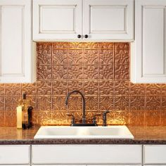 Fasade Traditional 1 x Polished Copper Backsplash Panels at Lowe's. Transform an ordinary kitchen or bathroom into a stylish space. Decorative thermoplastic backsplash panels for use in kitchens and bathrooms provide the Backsplash Panels, Copper Backsplash, Backsplash Ideas, Beadboard Backsplash, Herringbone Backsplash, Hexagon Backsplash, Copper Splashback Kitchen, Kitchen Countertops, Copper Countertops