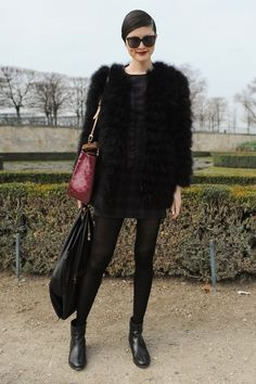 Street Style   Fur Coat and Louis Vuitton Bag