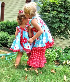 Swing Dress and Bloomer Set Blooming in Aqua Babies by gigglekids, $49.00