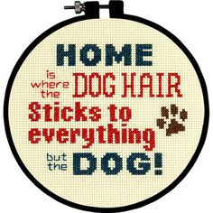"A cute cross stitch kit that any dog-lover can relate to! Stitch Wits Pet Hair Mini Counted Cross Stitch Kit-6"" Round 14 Count"