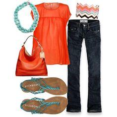 Turquesa y Naranja