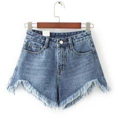 Blue Raw Hem Denim Shorts Hip Size(cm): S:84cm, M:88cm, L:92cm, XL:96cm Waist(cm): S:64cm, M:68cm, L:72cm, XL:76cm Size Available: S,M,L,XL Waist Type: High Wa…