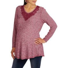 Faded Glory Maternity Long Sleeve Swing Hacci Top, Size: Medium, Red