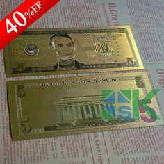 $5 AUSTRALIA  BANKNOTE WITH STAND COLOURED 24K GOLD OLD LIMITED BANKNOTE