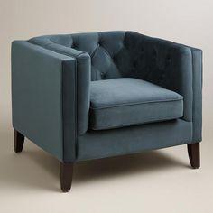Midnight Blue Kendall Velvet Chair   World Market