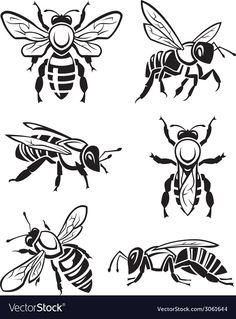 Illustration about Monochrome design of six bees. Illustration of shape, comb, silhouette - 45534962 Wood Burning Patterns, Wood Burning Art, Bee Stencil, Stencils, Honey Logo, Bee Pictures, Bee Drawing, Logos Retro, Bee Boxes