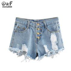 Dotfashion 2016 Retro Blue Ripped Fringe Dual Pockets High Waist Skinny Summer Casual Zipper Fly Women Fashion Denim Shorts