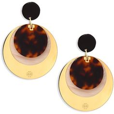 Tory Burch Layered Disc Earrings/Goldtone (€190) ❤ liked on Polyvore featuring jewelry, earrings, apparel & accessories, gold tone jewelry, disc jewelry, tory burch jewellery, polish jewelry and tory burch