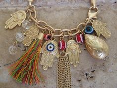 Multiple Gold Charms Hamsa Hand Evil Eye Bracelet Chain Star of David Jade Beads $24.99
